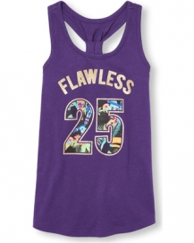 girls matchables sleeveless embellished graphic racer back tank top purple the childrens place